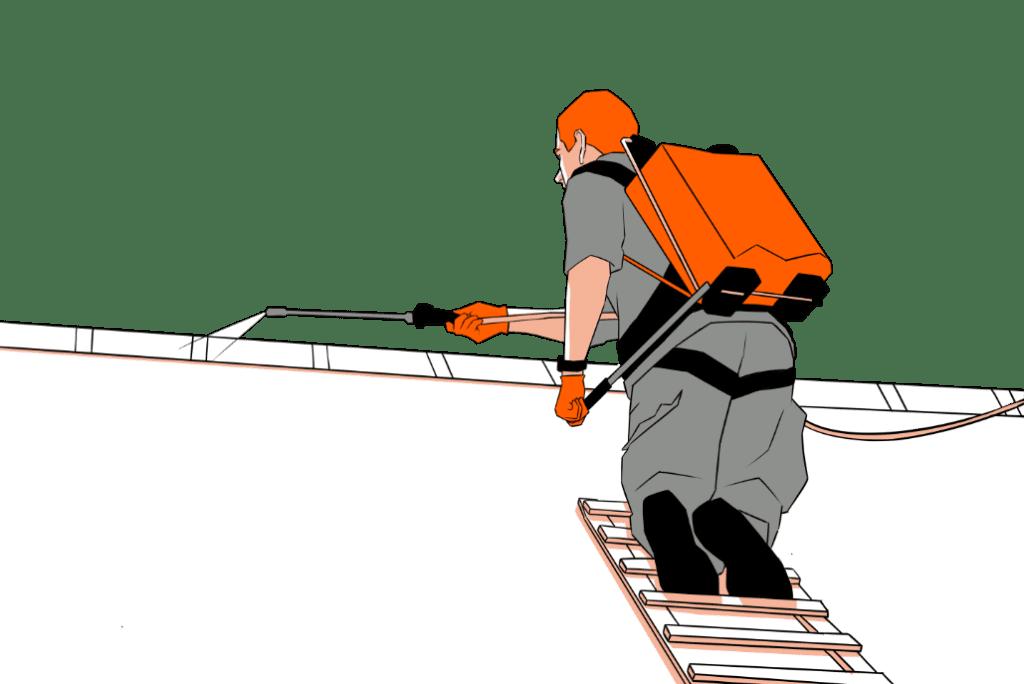 personnage échelle toit